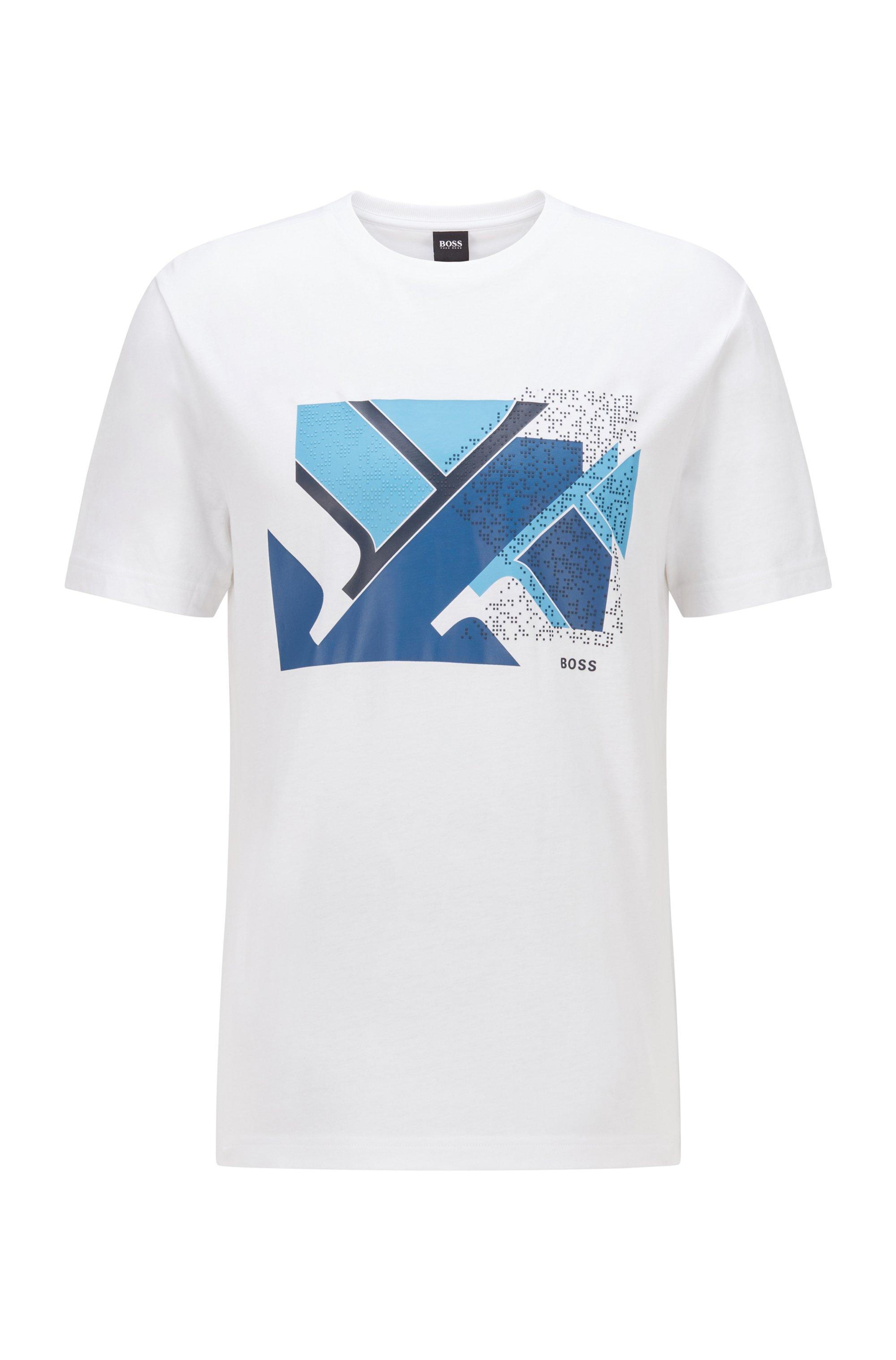 Cotton-blend T-shirt with flag-inspired artwork, White