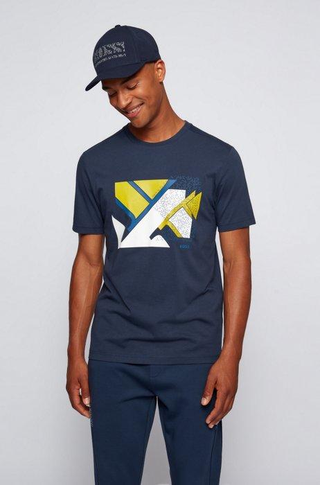 Cotton-blend T-shirt with flag-inspired artwork, Dark Blue
