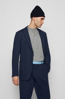 Regular-fit jacket in stretch jersey with exclusive logo, Dark Blue