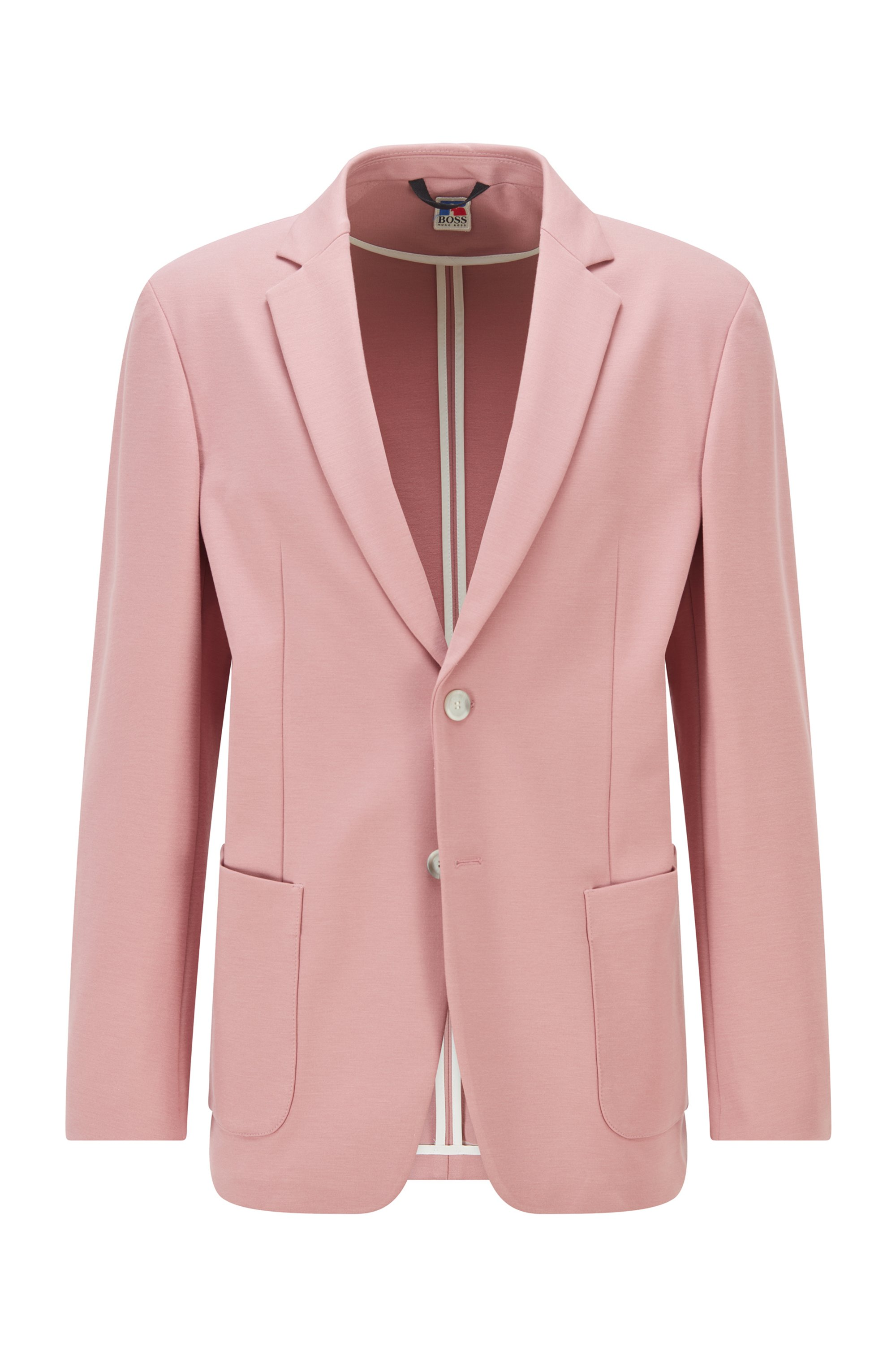 Regular-fit jacket in stretch jersey with exclusive logo, light pink