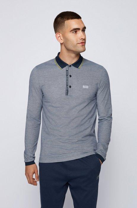 Cotton-piqué slim-fit polo shirt with logo details, Dark Blue