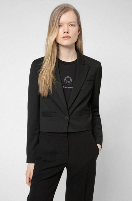 Cropped regular-fit jacket in stretch fabric, Black