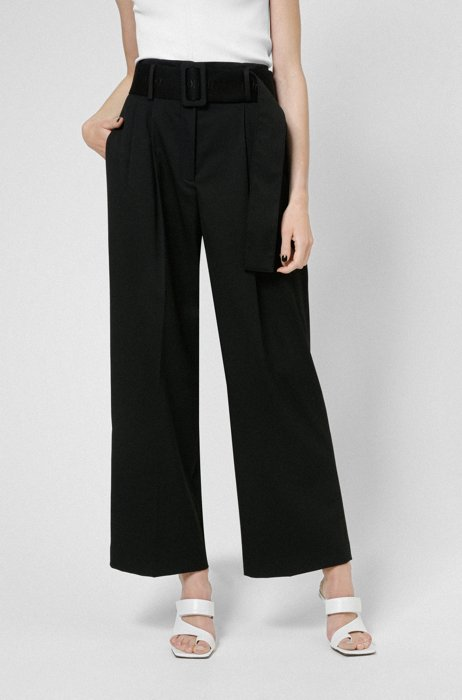Relaxed-fit pants in stretch fabric with logo belt, Black