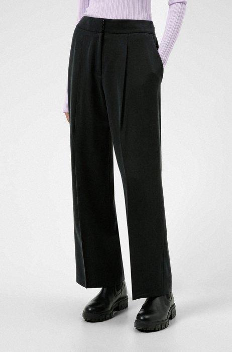 Wide-leg relaxed-fit trousers in TENCEL™ Lyocell, Black