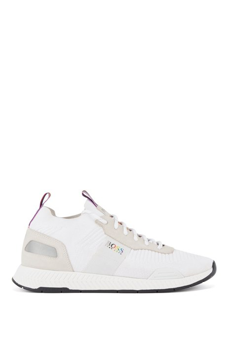 Unisex sock trainers with rainbow details and logo, White