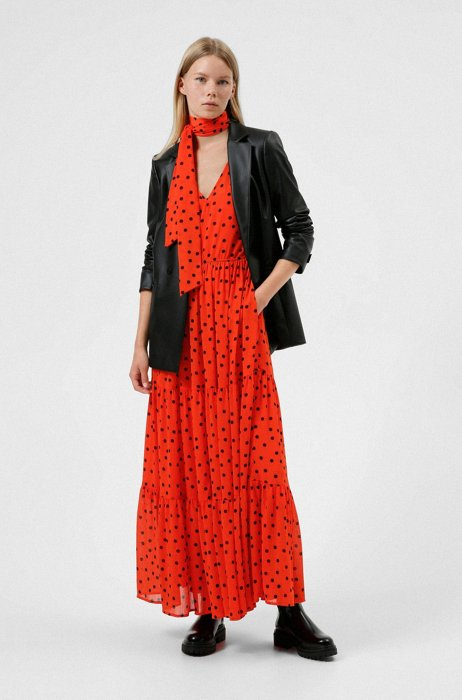 Relaxed-fit dress with dot print and bow neckline, Patterned