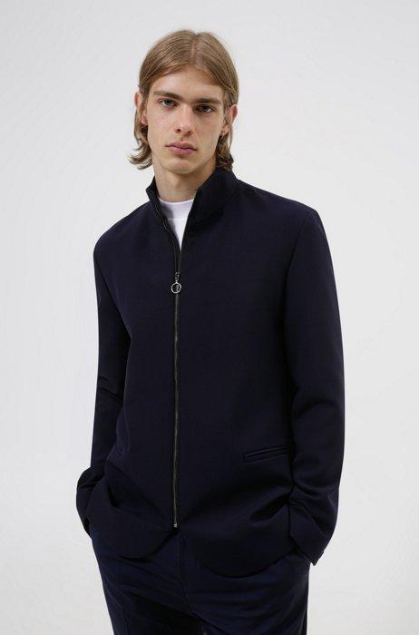 Slim-fit jacket with zip-up front, Dark Blue
