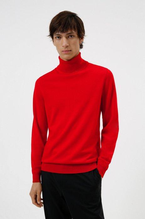 Slim-fit turtleneck sweater in extra-fine merino wool, light pink