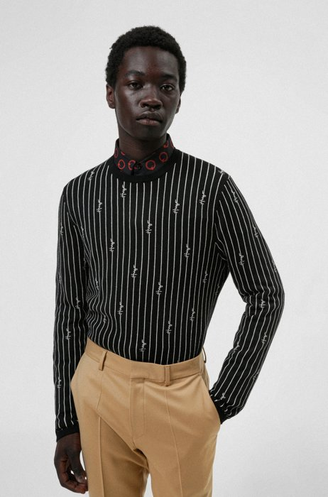 Cotton-blend sweater with jacquard-knitted pinstripes and logos, Black
