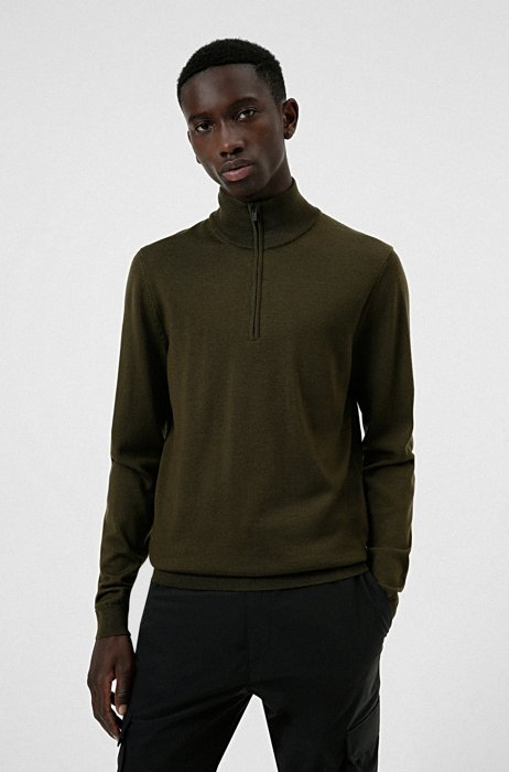 Zip-neck sweater in extra-fine merino wool, Dark Green
