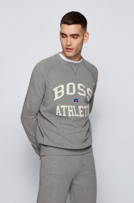 Relaxed-fit unisex sweatshirt in organic cotton with exclusive logo, Grey