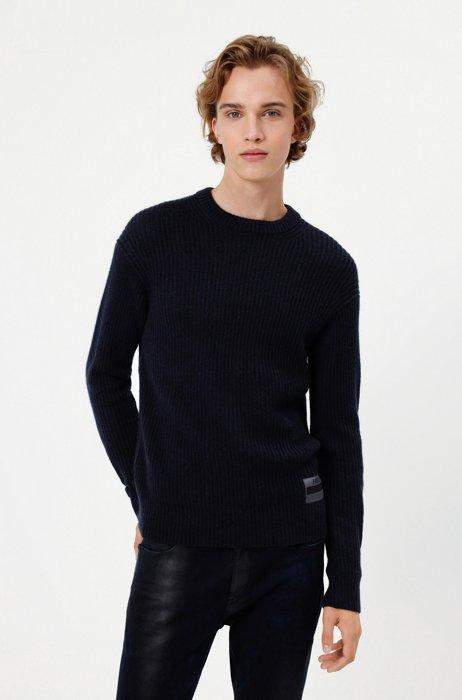Ribbed sweater with manifesto logo, Dark Blue