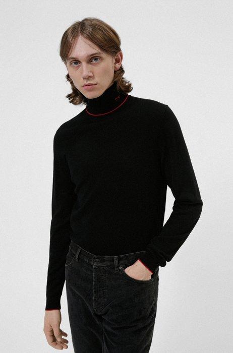 Turtleneck sweater in extra-fine merino wool, Black