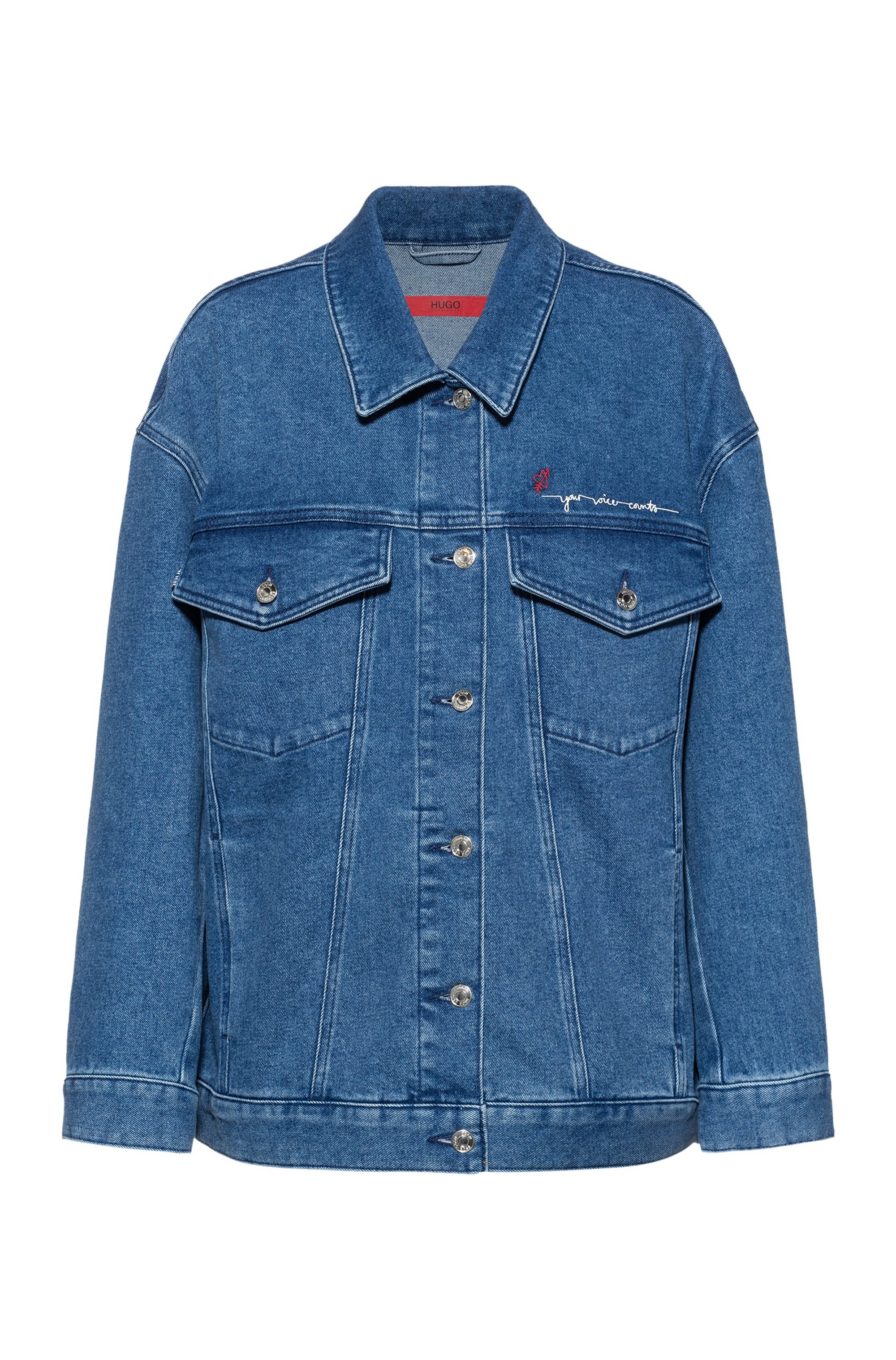 Oversized-fit denim jacket with scribble print, Turquoise