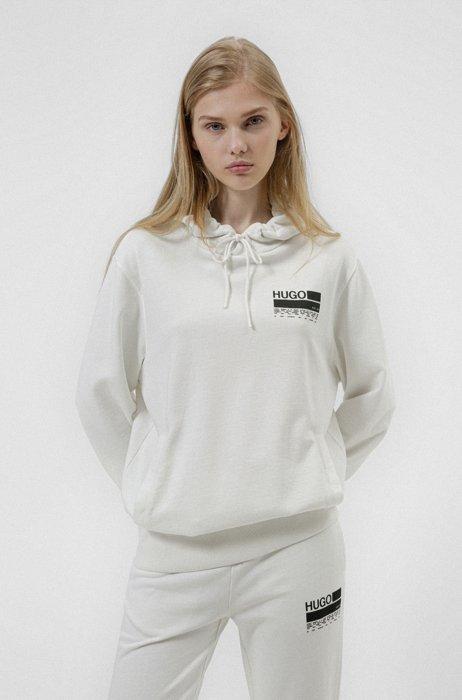 Sweat à capuche en coton recot²® à message imprimé, Blanc
