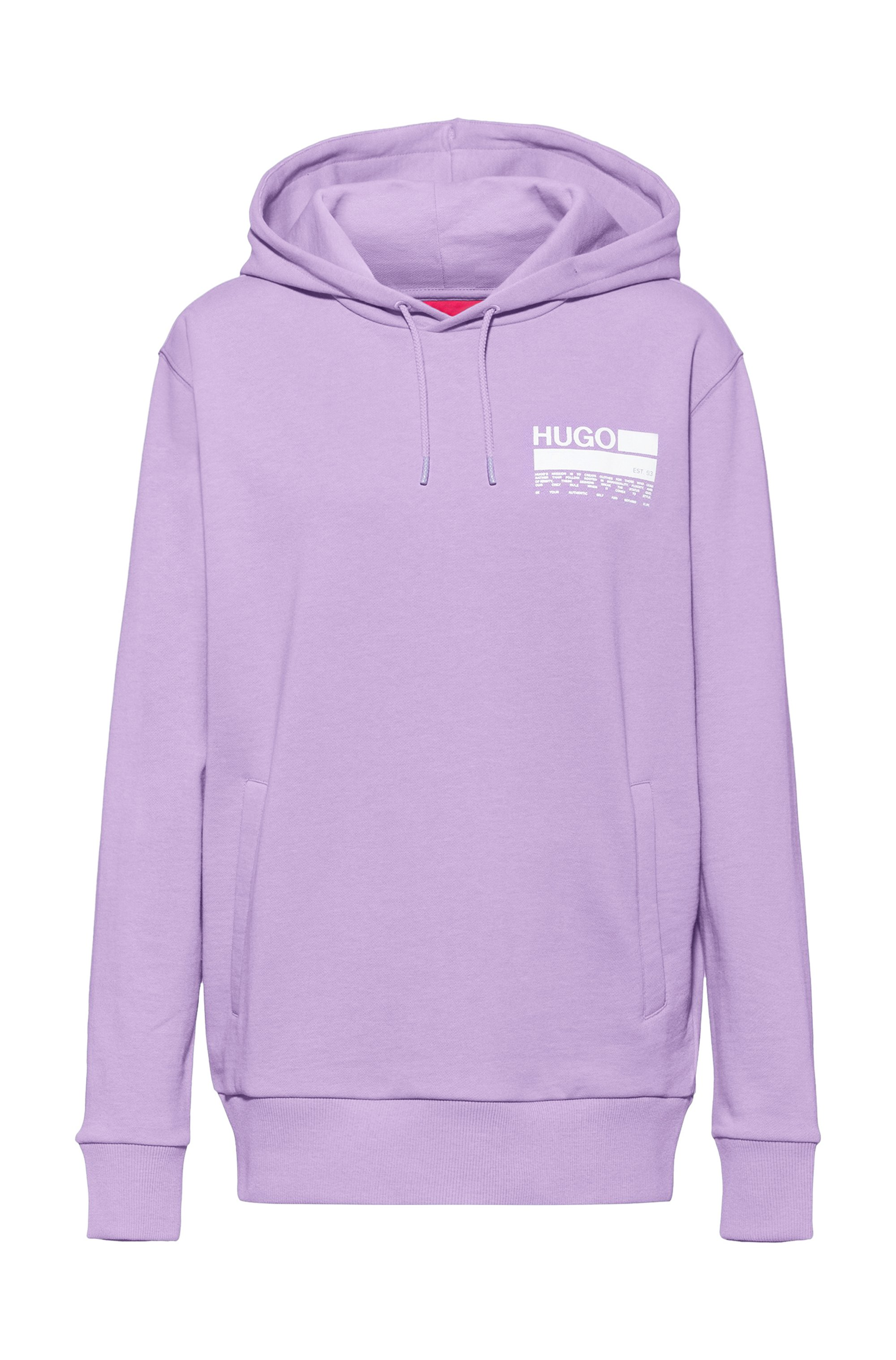 Manifesto-print hooded sweatshirt in Recot²® cotton, Purple