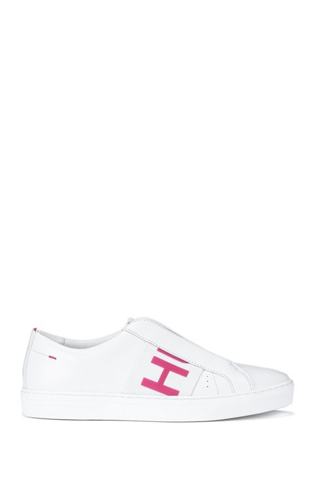Leather trainers with branded strap and rubber outsole, White