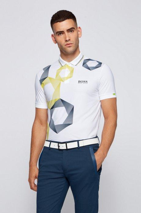 Hexagon-print regular-fit polo shirt with logo, White
