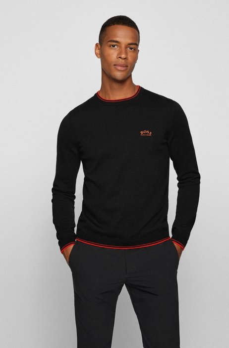 Crew-neck sweater in organic cotton with curved logo, Black