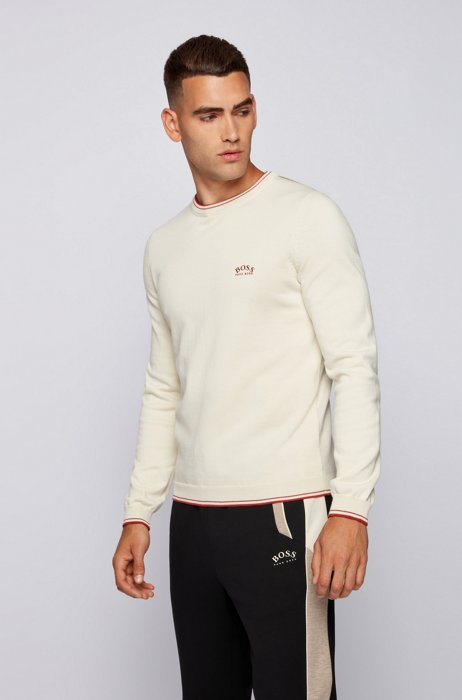 Crew-neck sweater in organic cotton with curved logo, White