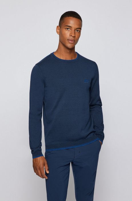 Crew-neck sweater in organic cotton with curved logo, Dark Blue