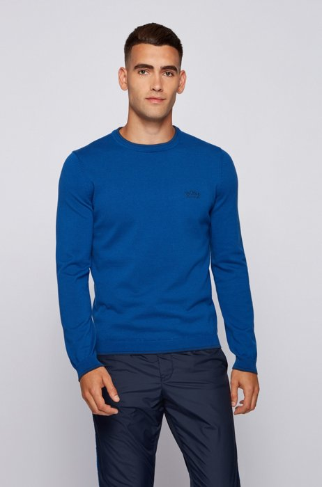 Crew-neck sweater in organic cotton with curved logo, Blue