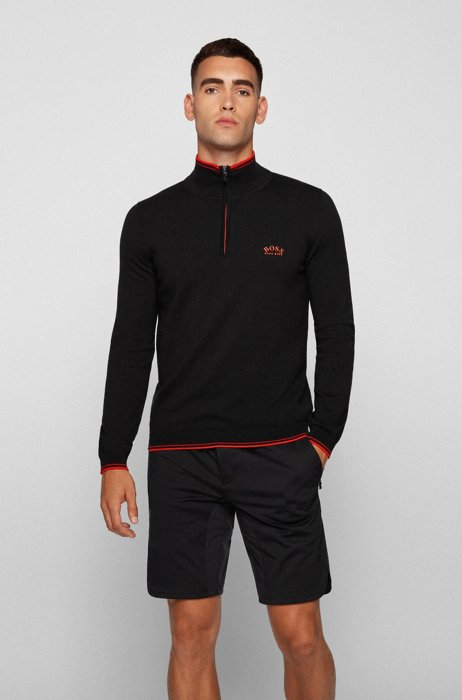 Zip-neck sweater in organic cotton with curved logo, Black