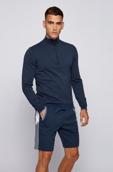 Zip-neck sweater in organic cotton with curved logo, Dark Blue