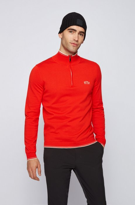 Zip-neck sweater in organic cotton with curved logo, Orange