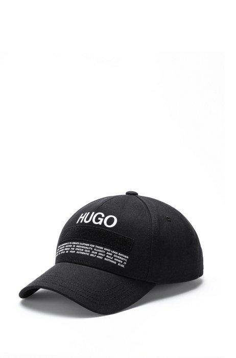 Cotton-twill cap with manifesto logo, Black