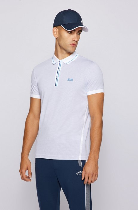 Stretch-cotton polo shirt with striped placket, White