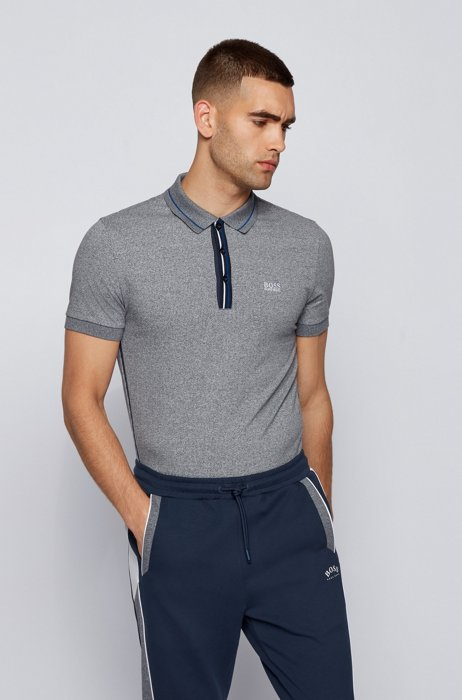 Stretch-cotton polo shirt with striped placket, Dark Blue