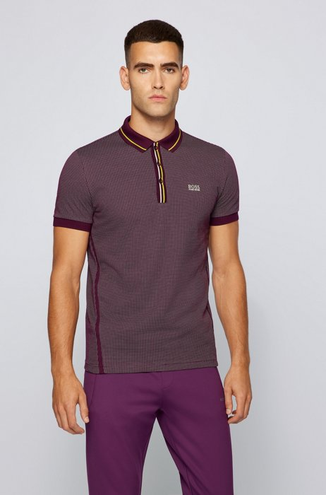 Stretch-cotton polo shirt with striped placket, Purple