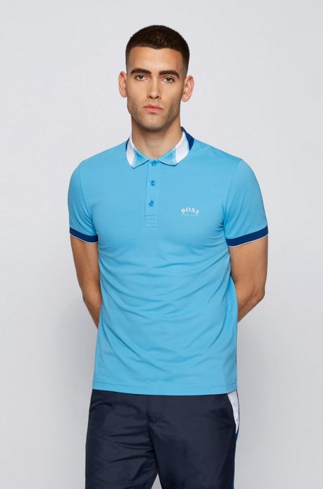 Slim-fit polo shirt in stretch piqué with logos, Light Blue
