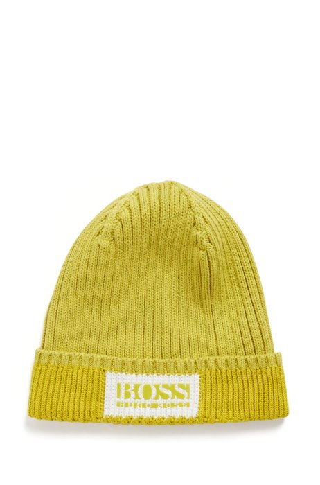 Logo beanie hat in cotton and wool, Green