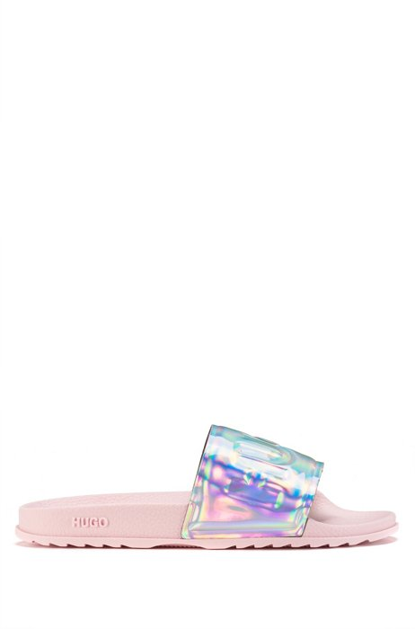 Italian-made logo slides with iridescent strap, Patterned