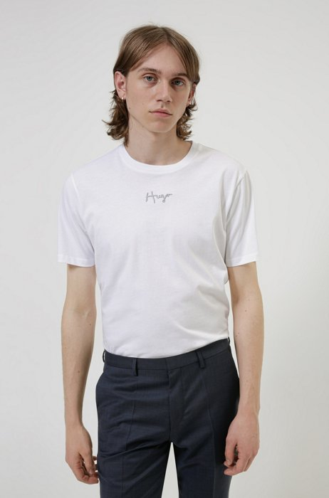 Organic-cotton T-shirt with embroidered handwritten logo, White