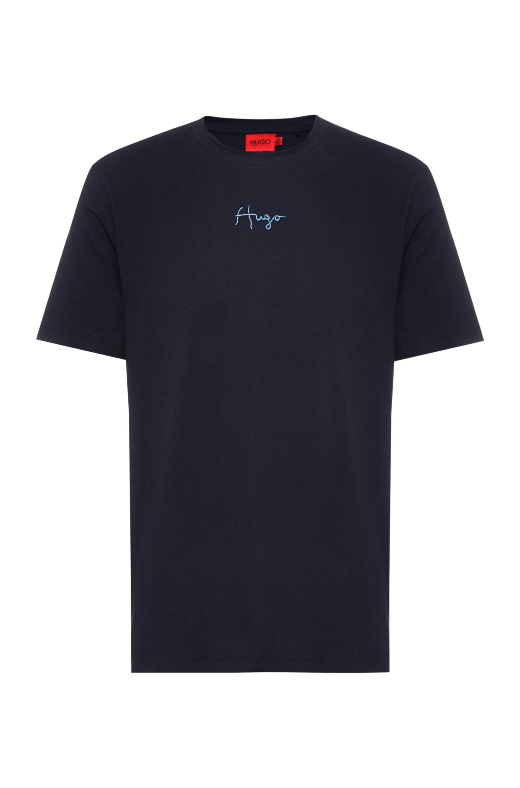 T-shirt en coton biologique avec logo manuscrit brodé, Bleu foncé