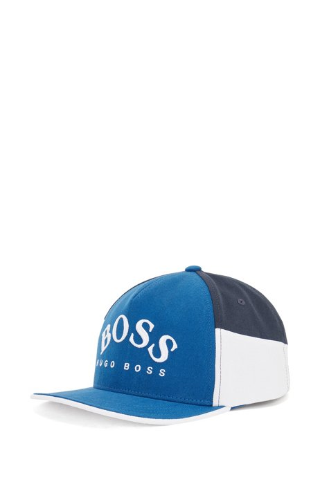 Colour-blocked logo cap in cotton twill, Blue