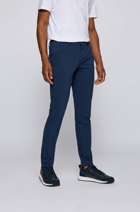 Slim-fit pants in water-repellent stretch fabric, Dark Blue
