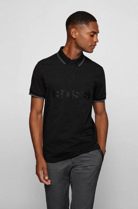 Cotton-blend regular-fit polo shirt with logo, Black