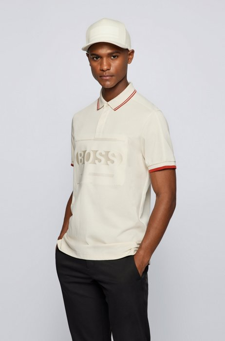 Cotton-blend regular-fit polo shirt with logo, White