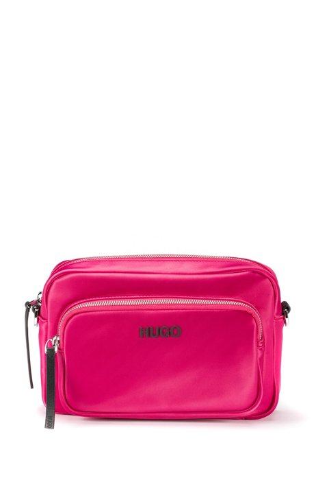 Logo crossbody bag in lustrous nylon, Pink