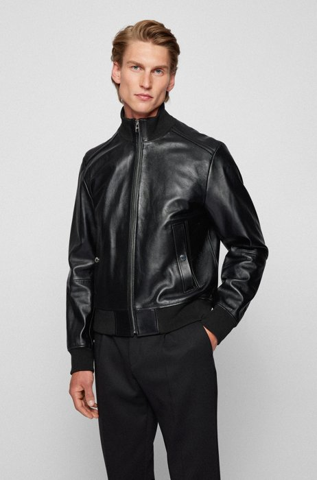 Bomber-style leather jacket in a regular fit, Black
