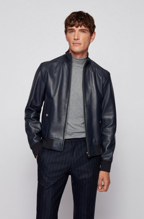 Bomber-style leather jacket in a regular fit, Dark Blue