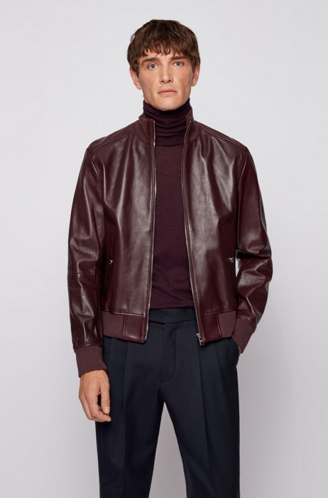 Bomber-style leather jacket in a regular fit, Purple
