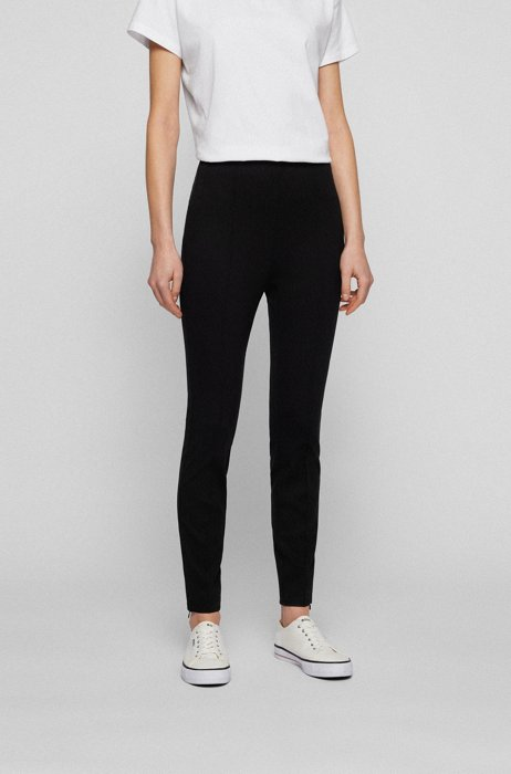 Skinny-fit pintuck leggings with zipped hems, Black
