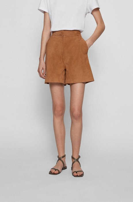 Suede shorts with partially elasticated waistband, Beige