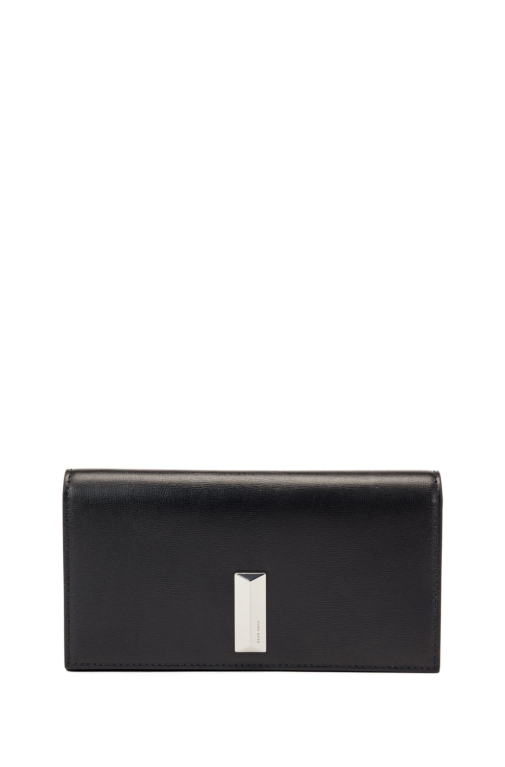 Mini sac en cuir avec garniture métallique en forme de pyramide, Noir