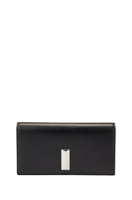 Mini bag in leather with pyramid-shaped hardware, Black